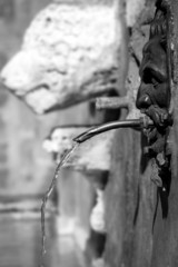 Pitigliano, Tuscany, old city center view. BW image