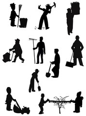 chores in silhouette