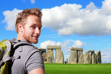 Young man travel in stonehenge