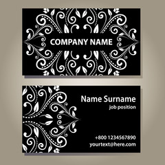 Set of empty black elegance cards with curly floral pattern