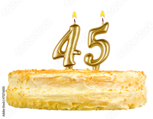 birthday cake with candles number forty five isolated on white плакат