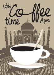 banner with coffee and view with picture of the Taj Mahal