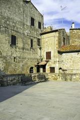 Pitigliano, Tuscany, old city center view. Color image