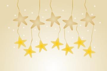 Fondo con estrellas colgantes marrones y amarillas