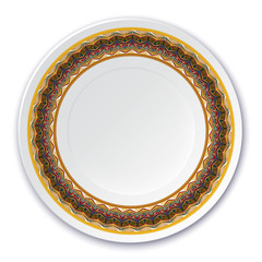 Round Indian tribal texture. Pattern shown on the ceramic plate.