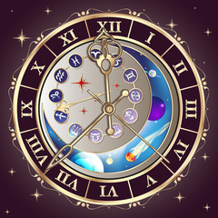 Zodiac signs, astrological clock, vector