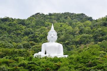 white Buddha in the mountain