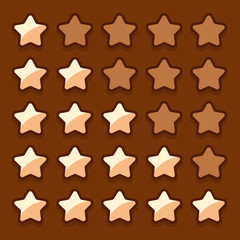 Game wooden web rating stars set