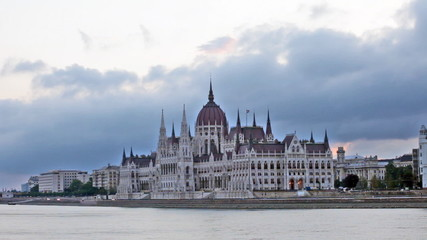 Parliament building in Budapest early in the morning before sunr