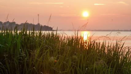 Sunrise over Nero's lake in Rostov, Russia, timelapse