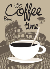Vector picture with coffee cup on the Rome Colosseum