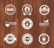 Organic Badges on a Wood Texture