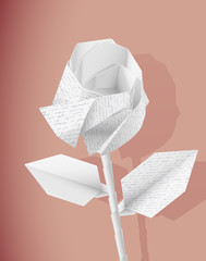 Paper rose with handwriting texture. Eps10