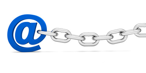 Blue e-mail attached with an iron chain