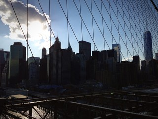 New York ponte di Brooklyn skyline