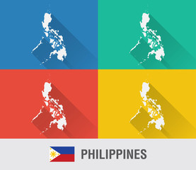 Philippines world map in flat style with 4 colors.