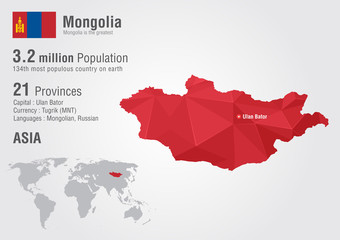 Mongolia world map with a pixel diamond texture.