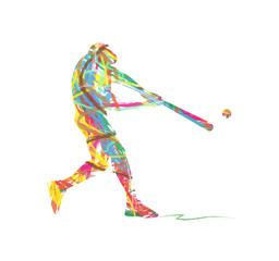 silhouette astratta di giocatore di baseball