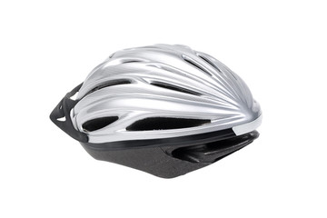 Grey bicycle cross country plastic helmet