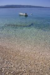 Pebble beach in Farska bay on Island Brac in Croatia