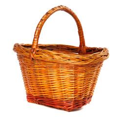 Wicker basket on white background.