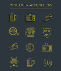 Movie icons,clean vector