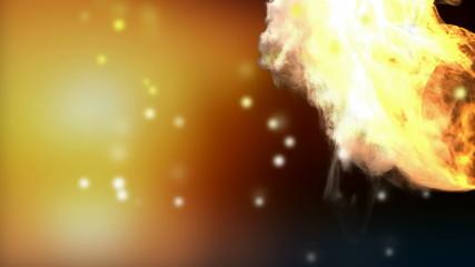 burning basketball ball