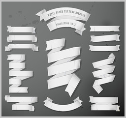 White paper texture ribbons - Collection No.2- Eps 10