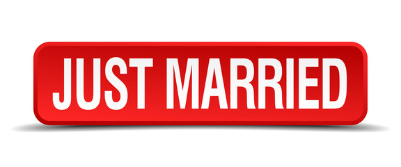 Just married red 3d square button isolated on white