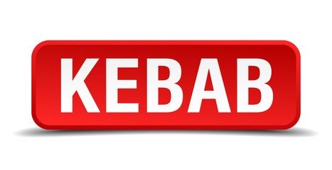 Kebab red 3d square button isolated on white