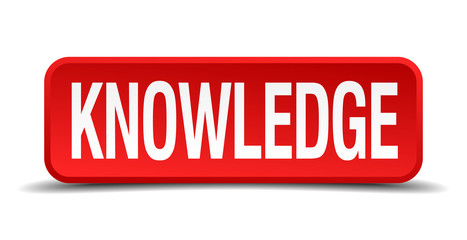 Knowledge red 3d square button isolated on white