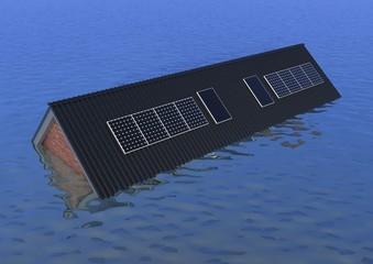 Huis onder water - alleen dak nog boven waterpeil