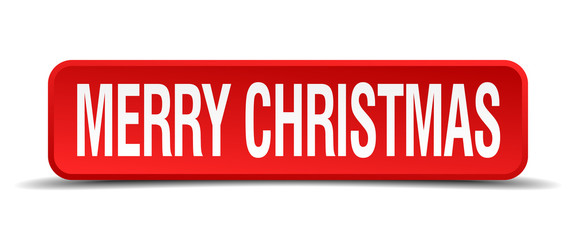 merry christmas red 3d square button isolated on white