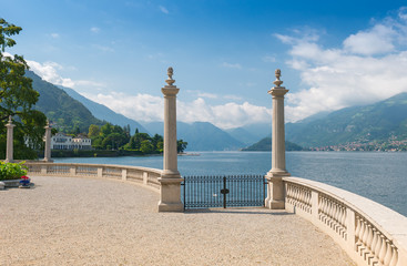 Lake Como seen from the romantic terrace of Villa Melzi