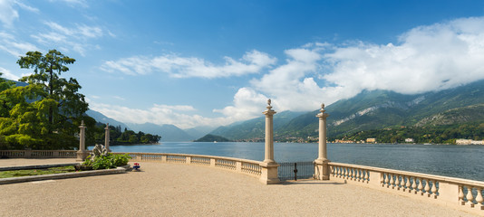 Wide angle view of Lake Como seen from a romantic terrace
