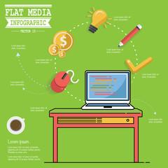 Media concept design,clean vector