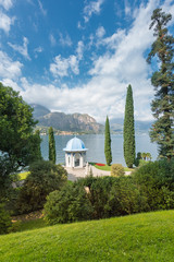 Park of Villa Melzi in Bellagio with its famous tea house