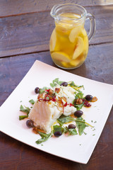 Fish dish and wine