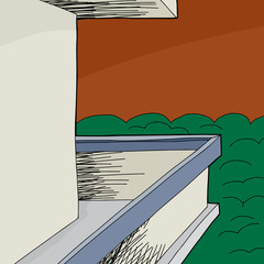 Balcony with Blank Wall