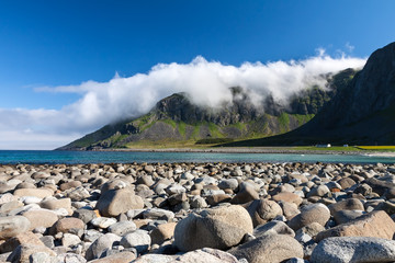 Beach and mountains at Unstad, Lofoten Norway