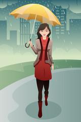 Stylish woman walking in the rain carrying an umbrella