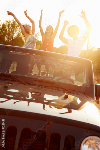 canvas print picture Three Women Dancing In Back Of Open Top Car