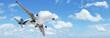 Jet in a blue cloudy sky