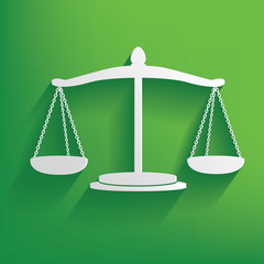 Justice symbol on green background,clean vector