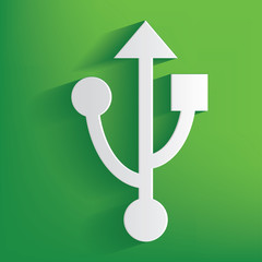 USB symbol on green background,clean vector