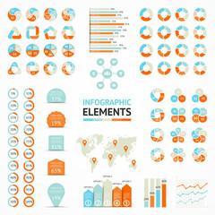 Infographic elements, diagram, graph, arrows, options, chart.