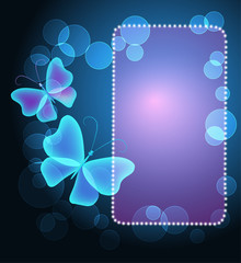 Glowing frame with butterflies