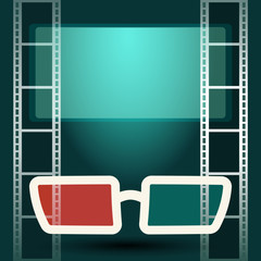 3d glasses with luminous screen and film strip