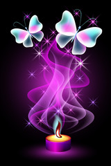 Burning candle with butterflies and stars