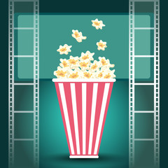 Package with popcorn and and film strip